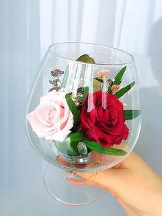 Rose arrangements in square glass vases.