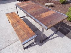 6 ft Industrial Dining Table w/ matching 5 ft by MtHoodWoodWorks, $962.00
