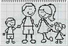 Familia Cross Stitch Family, Cross Stitch Love, Counted Cross Stitch Patterns, Cross Stitch Charts, Cross Stitch Designs, Cross Stitch Embroidery, Stitch Doll, Cross Stitching, Filet Crochet