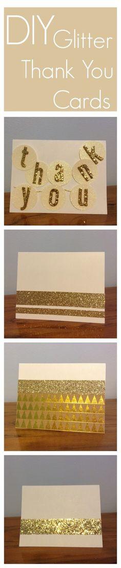 DIY Glitter Thank You cards