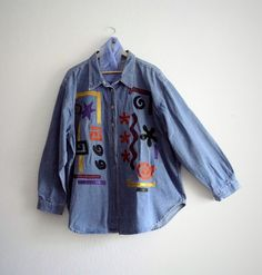Oversized Embellished Denim Jacket by KheGreen on Etsy