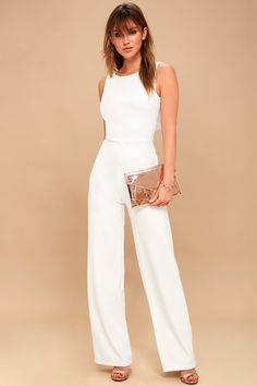 Enamored White Backless Jumpsuit 2