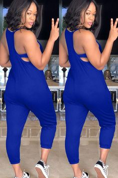 Women Blue Spaghetti Straps Sleeveless Pocket Casual Jumpsuit - S Casual Outfits, Cute Outfits, Fashion Outfits, Fashion Ideas, Professional Wear, Trending Today, Casual Jumpsuit, Jumpsuit With Sleeves, Two Piece Dress