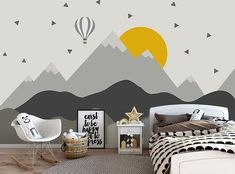graue Geometrie Berge Tapete abnehmbare Stoff aufeinanderfolgende Hügel Wand Papier Kinder Schlafzimmer Wand Wand bildende und Stick grau Spitze Wand Dekor This is gray themed mountains pattern,which consist of light gray and gray color and with a light b Baby Room Wall Decor, Kids Wall Decor, Nursery Room, Bedroom Wall, Girls Bedroom, Wall Murals For Kids, Safari Nursery, Nursery Wall Murals, Mural Wall