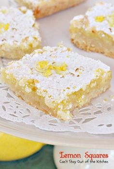 Lemon Squares | Can't Stay Out of the Kitchen | These lovely bars are one of our favorite Christmas cookie recipes. Rich and decadent!