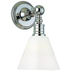 """Darien Polished Nickel and Opal 14"""" High Wall Sconce - #T6521   Lamps Plus"""