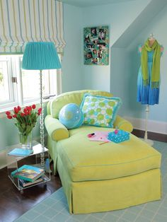 GREEN AND BLUE CHAISE  Teen Bedroom with a Funky Lime Chaise and Blue Walls and Rug