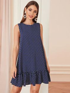To find out about the Ruffle Hem Polka Dot Dress at SHEIN, part of our latest Dresses ready to shop online today! Simple Dresses, Cute Dresses, Casual Dresses, Summer Dresses, Summer Clothes, Simple Dress Casual, Elegant Dresses, Maxi Dresses, Beautiful Dresses