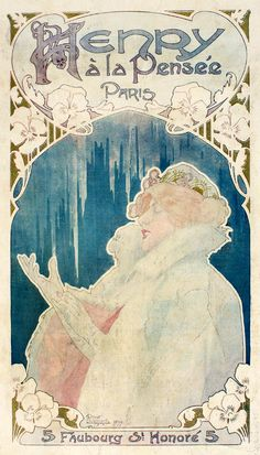 Poster design by Henri Privat-Livemont for the French fashion house 'Henry à la pensée', ca. 1899.