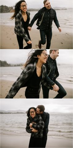 What to wear for engagement photos: dark layered neutrals - black and blue denim, a gray plaid shirt, a dark denim shirt and more puffy jacket layers to keep warm! It's comfortable and looks right at home in the Pacific Northwest.    Engagement photos shouldn't be boring! It's great when you can be your normal, goofy selves in front of the camera. Taken in Lincoln City by Oregon Coast Photographer Katy Weaver Engagement Photo Outfits, Engagement Photos, Blue Denim Jacket Outfit, Puffy Jacket, Oregon Coast, Keep Warm, Dark Denim, Pacific Northwest, Denim Shirt