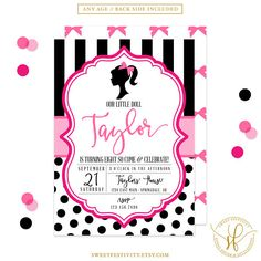 Doll Invitation Doll Party Fashion Show Party Glam Party