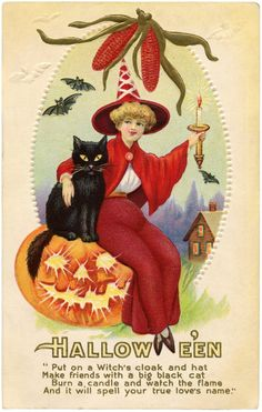Vintage Red Witch Image - Halloween! - The Graphics Fairy