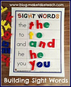 Building sight words and other activities for teaching and practicing sight words.  Free printables!
