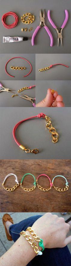 Pulsera con cadena y cordn de cuero / Via http://www.thanksimadeitblog.com