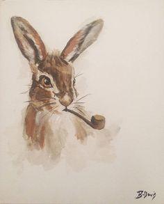 Watercolour hare smoking pipe