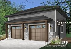 Discover the plan 3997 - Touareg from the Drummond House Plans garage collection. Two-car garage design, modern rustic style, ceiling high. Total living area of 672 sqft. Detached Garage Designs, Garage Door Design, Garage Doors, Modern Rustic, Modern Farmhouse, Rustic Style, White Farmhouse, Rustic Design, 2 Car Garage Plans