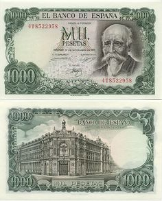 1971 Spain 1000 Pesetas Pick Number 154 Writer Jose Echegaray Beautiful Very Fine Banknote Money Notes, Old Money, Coin Collecting, Curious Cat, Postage Stamps, Nostalgia, Vintage Images, World, Beautiful