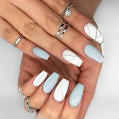 White and Marble Nails