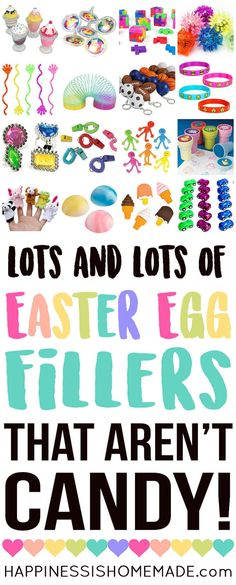 Looking for Easter Egg Filler Ideas that aren't candy? Here are 25+ awesome non-candy Easter Egg fillers that are sure to be a huge hit with your kids! Perfect for Easter egg hunts and baskets!