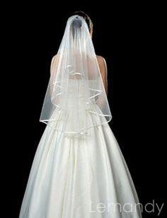 short organza wedding veil with hairpin until waist length. $36.00, via Etsy.
