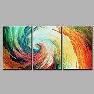 Pintados à mão Abstrato Artistíco Abstracto Legal Moderno/Contemporâneo Escritório/Negócio Natal Ano Novo 3 Painéis Tela Pintura a Óleo