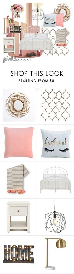 """dormitorio chica"" by soy-sony-gg on Polyvore featuring interior, interiors, interior design, hogar, home decor, interior decorating, Ricardo, Tribecca Home y Crystal Art"
