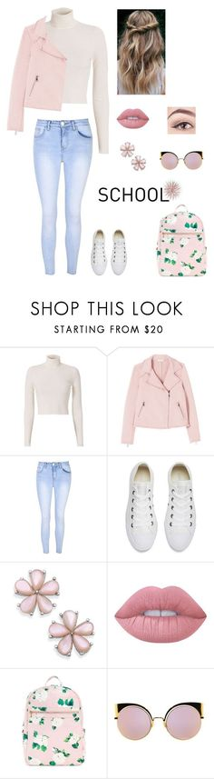 """School"" by directionerand5sosfan ❤ liked on Polyvore featuring A.L.C., Glamorous, Converse, Lime Crime and Fendi"