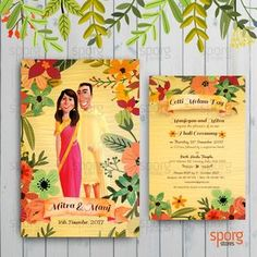 A floral wedding card design for Australian Srilankan Tamil couple. Illustrated Wedding Invitations, Indian Wedding Invitation Cards, Wedding Reception Invitations, Wedding Invitation Card Design, Indian Wedding Cards, Engagement Invitations, Wedding Card Design, Floral Invitation, Invites