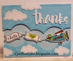 Thanks A Latte Airplane Banner Airplane Banner, Airplane Crafts, Cute Cards, Diy Cards, First Birthday Cards, Thanks A Latte, Lawn Fawn Stamps, Handmade Card Making, Scrapbook Cards