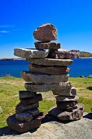 With the proper rocks, an Inukshuk can be made like this one which adorns the shores of Red Bay located along the Labrador Coastal Drive in Southern Labrador, Canada. Abandoned Library, Monuments, Pagan Christmas, Newfoundland And Labrador, Newfoundland Canada, Dragon Garden, Rock Sculpture, Red Pictures, Alaska