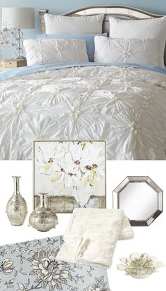 Pure Glam: Crisp white and shimmery accents say simple elegance