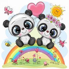 Cartoon Pandas are sitting on the rainbow. Two Cute Cartoon Pandas are sitting on the rainbow stock illustration Cartoon Cartoon, Kids Cartoon Characters, Cute Cartoon Drawings, Cute Cartoon Animals, Cute Animals, Panda Kawaii, Niedlicher Panda, Cute Panda Baby, Panda Wallpapers