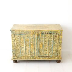 distressed metal and wood cabinet