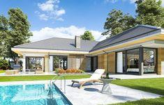 Projekt domu Wyjątkowy 2 - 201.09 m2 - koszt budowy 361 tys. zł House Plans Mansion, 3d House Plans, House Layout Plans, House Blueprints, Simple House Plans, House Layouts, Modern Small House Design, Modern Exterior House Designs, Modern Bungalow House