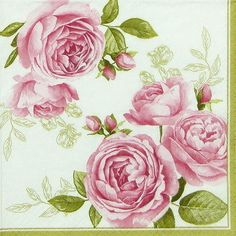 4 x Single Luxury Paper Napkins for Decoupage and Craft Delicate Roses