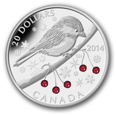 Fine Silver Coin - Chickadee with Swarovski™ Winter Berry Elements - Mintage: Canadian Gold Coins, Coin Design, Coin Art, Show Me The Money, Commemorative Coins, Silver Bullion, World Coins, Silver Coins, Mint Coins