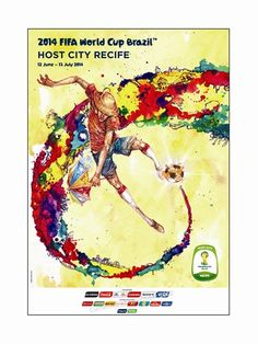 FIFA World Cup 2014 Official Venue Poster Recife available at www. Fifa World Cup 2014, Brazil World Cup, World Cup 2018, Soccer Art, Football Art, Football Brazil, Worldcup Football, Retro Football, Sport Football