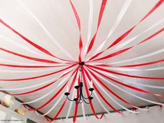 Big Top Circus White and Red Ceiling Streamers.