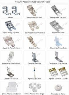 kit (conjunto) de sapatas, calcador, acessórios singer.