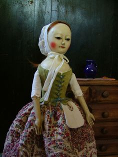 Reproduction English Wooden Queen Anne Dolls and Izannah Walker Dolls :  Rare and beautiful example of 18th century French...