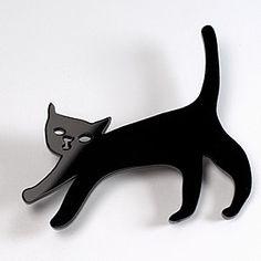Cat Brooch  Black and White  Laser Cut Acrylic by Nechegonadet, $15.00