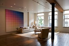 Pastel art at the home of Dwell Studio of Christiane Lemieux (via Matchbook Magazine).