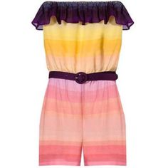 Alice + Olivia Skyler Flounce Romper Condition: Like New (Worn once) // Purple/yellow/multicolor rainbow print. Ruffled flap at strapless neckline. Purple belt with the circle buckle at natural waist. Silk. Alice + Olivia Tops