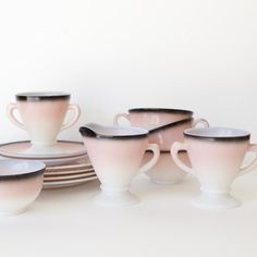 30s Ombre Milk Glass Set by Hazel Atlas.  seesawvintage  $64