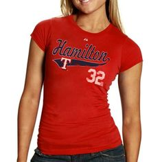 Majestic Texas Rangers #32 Josh Hamilton Ladies Red Lead Role Player T-shirt