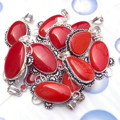 New Arrival 50 Piece Red Coral Smooth Gemstone Sterling Silver Plated Pendants. #Unbranded #Pendant