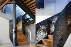 In contrast to the flat stair rail in the previous example, workshop/apd incorporated a custom-designed water-jet-cut floral pattern into the winding steel surface of this lively stair railing.