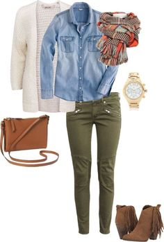 Coordinating Colors For A Fresh New Look – Fashion Trends Olive Pants Outfit, Outfit Jeans, Outfits With Olive Pants, Cream Cardigan Outfit, Olive Green Outfit, Kaki Pants, Jeans Shoes, Chunky Cardigan, Cream Sweater