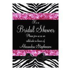 Pink Glitter Zebra Bow Bridal Shower Invitations