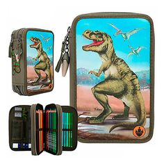 Estuche triple lleno con luces led de DINO WORD Luz Led, Lunch Box, Glue Sticks, Gifts For Children, Foot Prints, Lights, Backpacks, Bento Box